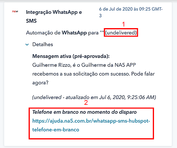 Mensagens não entregues nas automações de WhatsApp