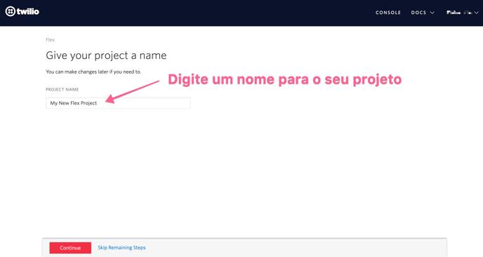 digite-um-nome-para-o-seu-projeto-twilio-flex