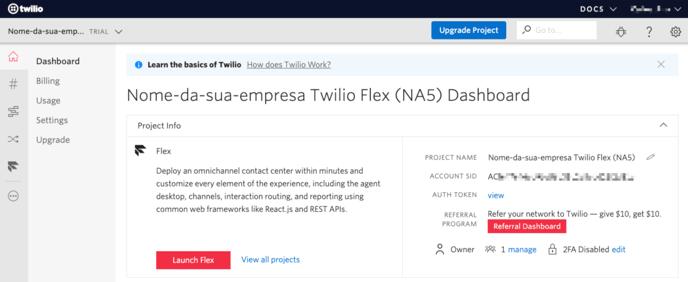 pagina-de-entrada-do-projeto-twilio-flex